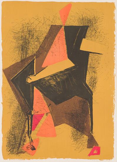 Marino Marini, 'Cavalier Sur Fond, Ocre (G.L 174)', 1957