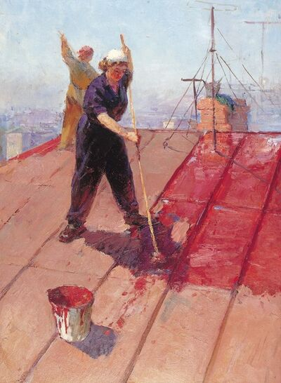 Aleksandr Nikiforovich Chervonenko, 'Painting the roof', 1955