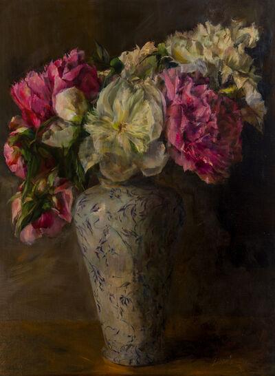 Ann Gargotto, 'Peonies in Antique Vase'