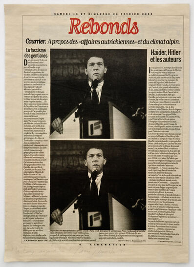 Pierre Bismuth, 'Les temps d'aujourd'hui (Haider, Hitler et les auteurs); from the series Newspaper', 2000