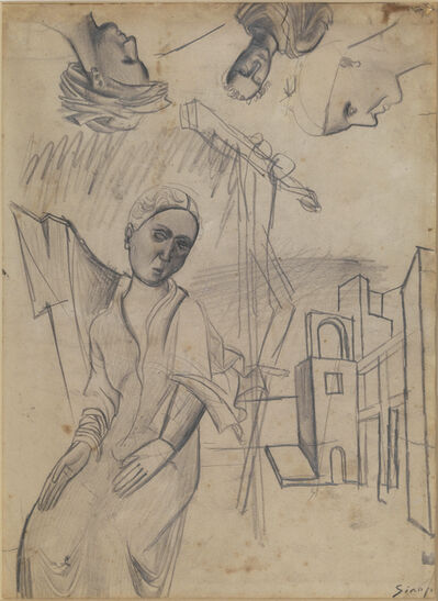 Mario Sironi, 'Female figure, houses and studies of heads', ca. 1919