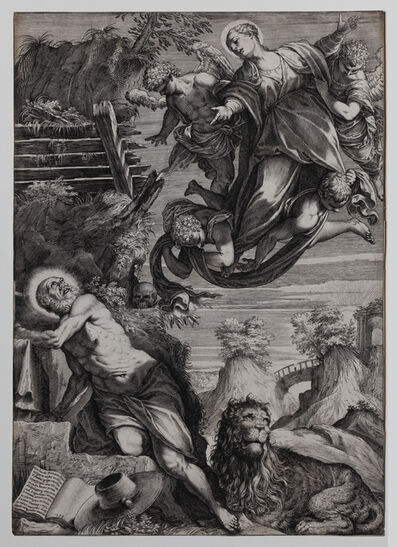 Agostino Carracci, 'The Madonna appearing to Saint Jerome', 1588