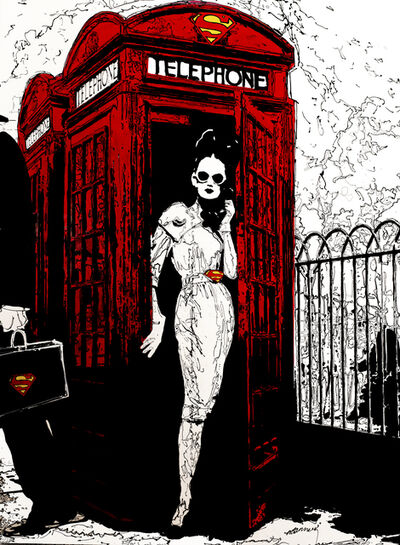 """Holly Manneck, '""""You Rang Me"""" a woman poses in a red telephone box wearing sunglasses and a Superman belt buckle while holding the phone as a person with a Superman briefcase walks out of view', 2010"""