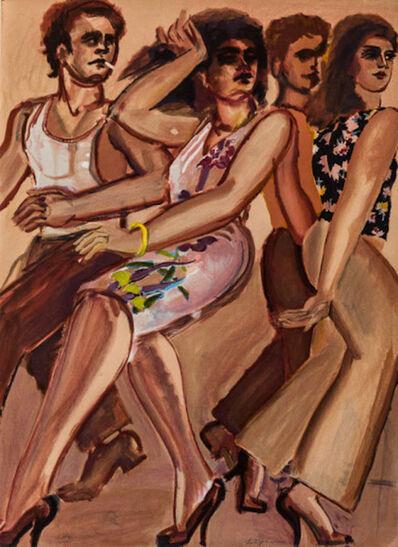 Lester Johnson, 'Street Scene White Dress', 1980