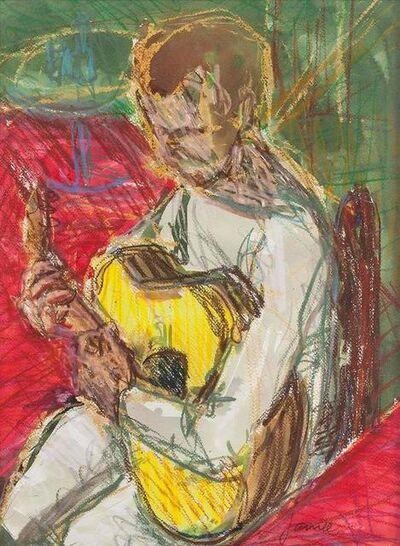 Jamie Marin-Price, 'Portrait of Guitar Player, Pastel on Paper', 20th Century