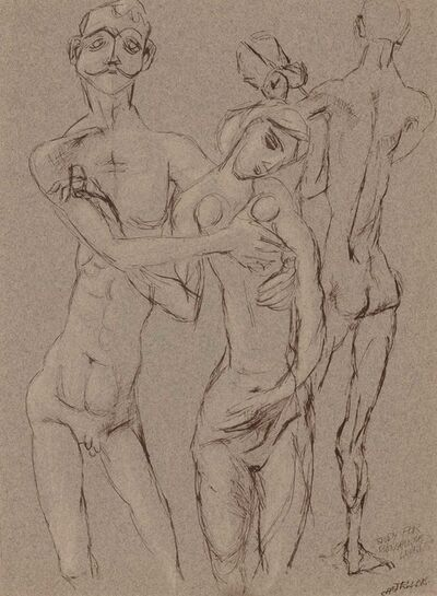 Federico Castellon, 'Study for Bengalese Lovers', 1947