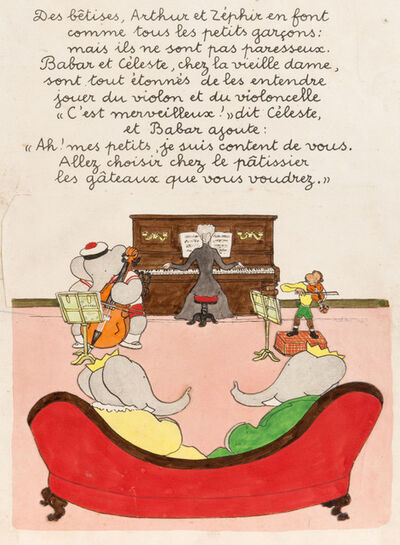"Jean de Brunhoff, 'Arthur and Zephir are mischievous, as are all little boys, but they are not lazy. Babar and Celeste visit the Old Lady, and are amazed to hear them play the violin and cello. ""It is wonderful!"" says Celeste, and Babar adds: ""My dear children, I am indeed pleased with you. Go to the pastry shop and select whatever cakes you like.""', 1935"