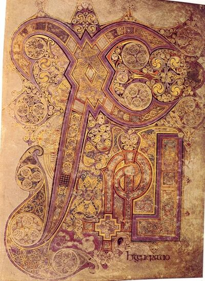 'Chi Rho Iota page from the Book of Kells, Matthew 1:18', Late 8th or 9th century