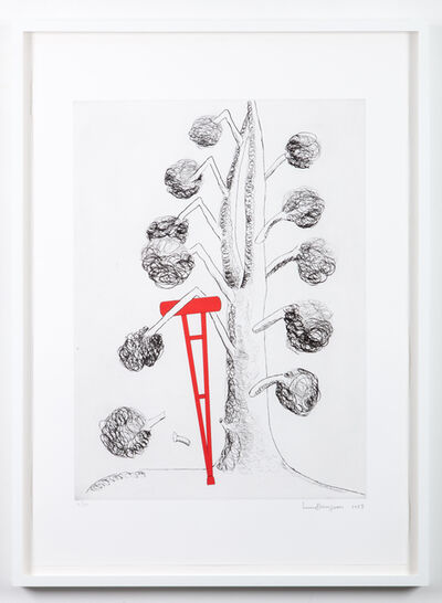Louise Bourgeois, 'Topiary: The Art of Improving Nature, Tree with Red Crutch', 1998