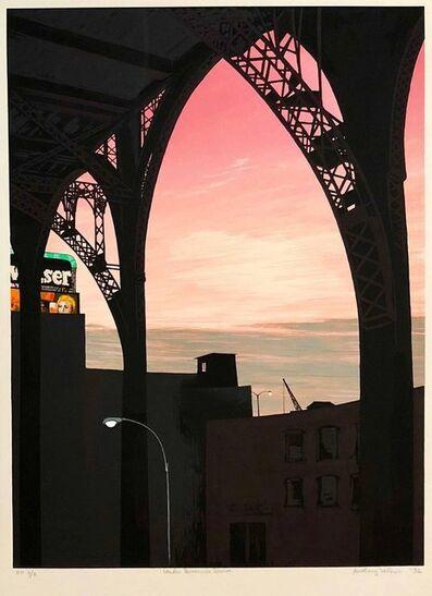 Anthony Velonis, 'Large Modernist Silkscreen Screenprint 'Under Riverside Drive' NYC WPA Artist', 1980-1989