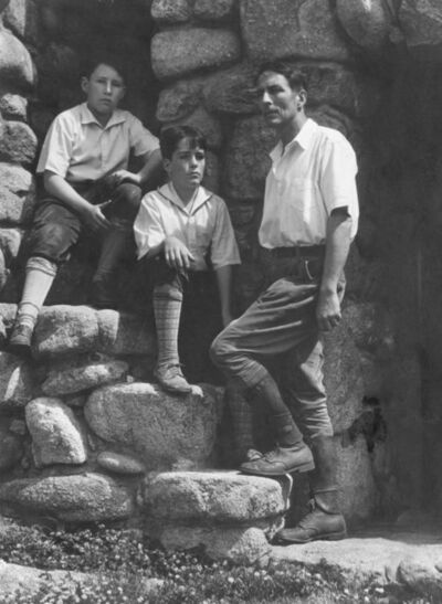 Edward Weston, 'Robinson Jeffers and Twin Sons, Garth & Donnan at Tor House, Carmel', 1930-printed later than 1932