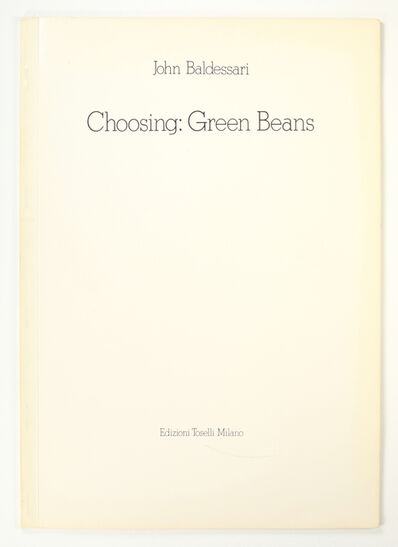 John Baldessari, 'Choosing: Green Beans', 1972