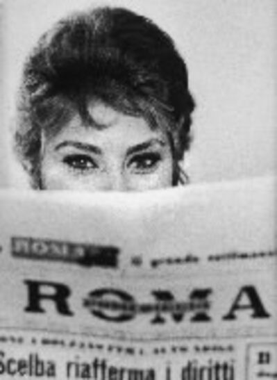 Alfred Eisenstaedt, 'Actress Sophia Loren Peering Over the Top of a ROMA Newspaper, Rome, Italy', 1961