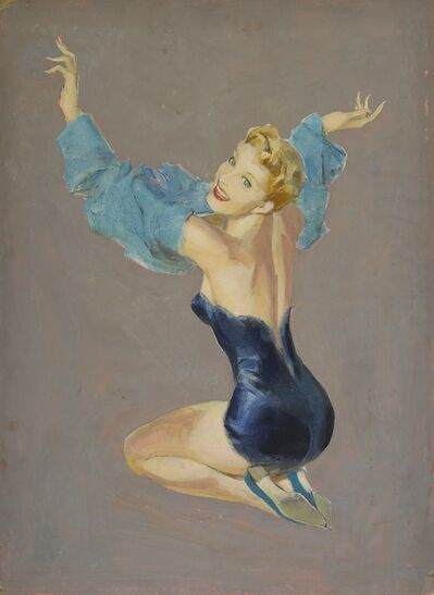 John Lagatta, 'Depicting a Woman in Blue Lingerie with Her Arms in a Dress Overhead ', 1960