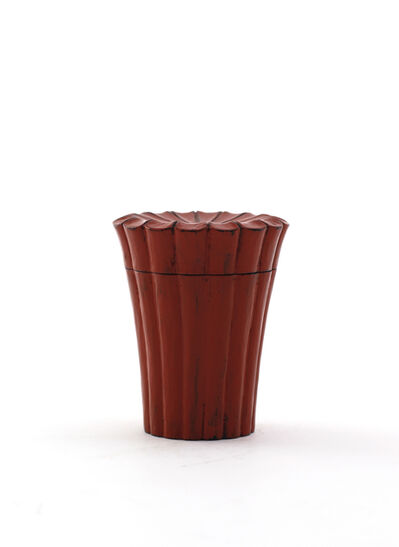 Jihei Murase, 'Vermilion lacquer chrysanthemum shaped tea caddy, Negoro style', 2017