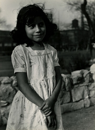 Yasuhiro Ishimoto, 'Untitled (dark haired young girl in front of stone wall)', 1950-printed 1950s