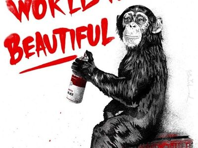 Mr. Brainwash, 'The World Is Beautiful - Everyday Life Red', 2020