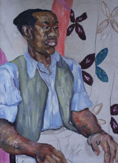 ede-else, 'Seated Man with Floral Curtains', Circa 1935
