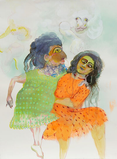 Rina Banerjee, 'Lifting her, Zarina up and away from Snow Monkey, stay and play bring our friendships not be blamed for histories that wishfully erase old age, Pale Snow Monkey can reclaim as messenger god be brave and stay', 2019