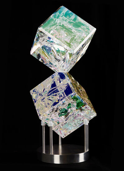 Tom Marosz, ''Double Cube' Fused, Cut and Polished Dichroic Glass Sculpture', 2018