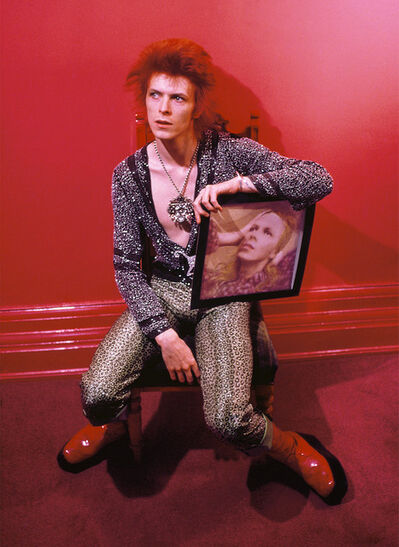 Mick Rock, 'Bowie with Hunky Dory Cover', 1972