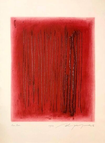 Adja Yunkers, 'Large Red Intaglio Etching Abstract Latvian American Modernist Artist Embossing', 20th Century