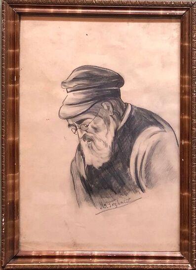 Maurycy Trebacz, 'Old Jewish Shtetl Rabbi Charcoal Judaica Drawing World War II Era', 1930-1939