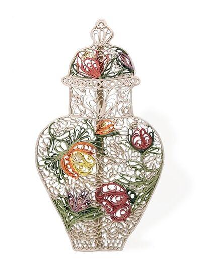 Janice Jakielski, 'Quilled Meissen Vase, Indianische Blumen', 2018