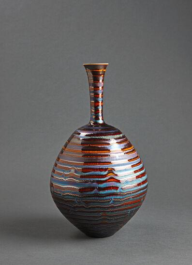 Hideaki Miyamura, 'Vase, brown and blue hare's fur glaze'