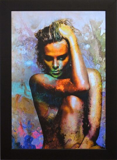 Mark Lewis (American, b. 1958), 'Limited Edition Giclee 'Blue Daze 2 - Charlize Theron' Celebrity Pop Art, Famous People Artwork', 2017