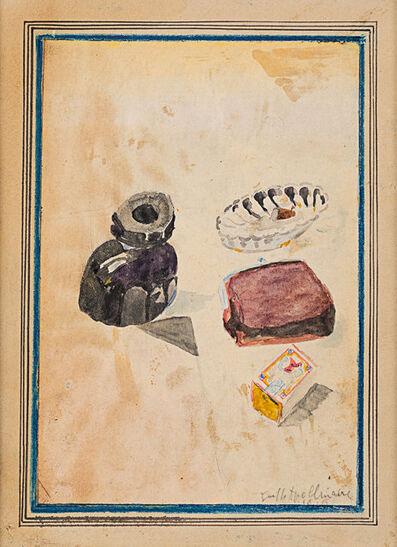 Guillaume Apollinaire, 'Sans titre (nature morte à l'encrier, paquet de tabac, cendrier et boîte d'allumettes)', 1916