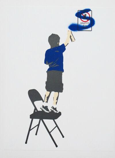 "Plastic Jesus, '""Graffiti is a Crime"" – Blue Acrylic Screen Print on Paper', 2016"