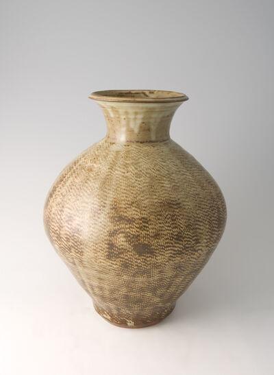 Tatsuzo Shimaoka, 'Vase, rope and slip inlay with ash glaze'