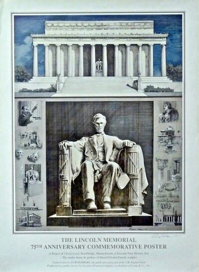 Richard Haas, 'The Lincoln Memorial, 75th Anniversary Commemorative Poster (Hand Signed)', 1997