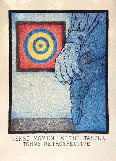 Glen Baxter, 'A Tense Moment at the Jasper Johns Retrospective'