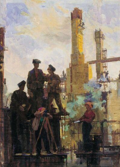 Vasily Vasilevich Strigin, 'The hydroelectric power station construction', 1956