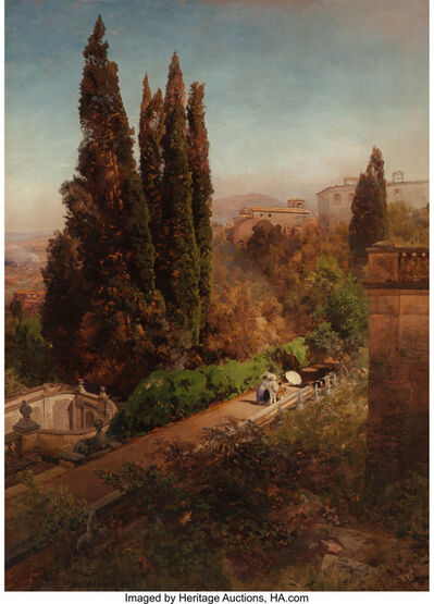 Oswald Achenbach, 'View from high in the gardens of Villa Torlonia, Frascati, Rome', 1881