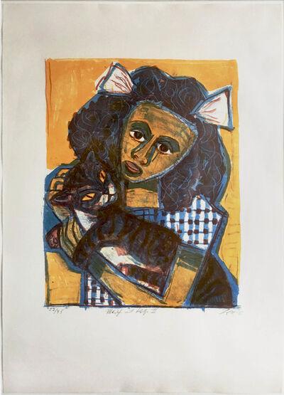 Otto Dix, 'Mädchen mit Katze II (Kopf schräg)', 1956