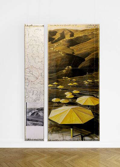 Christo, 'The Umbrellas (Joint project for Japan and USA), length 18 miles, width approximately 1,5 miles (two parts drawing)', 1988