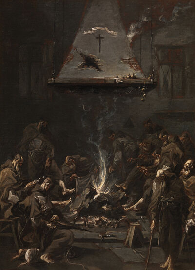Alessandro Magnasco, called il Lissandrino, 'MONKS WARMING THEMSELVES AT THE FIRE'