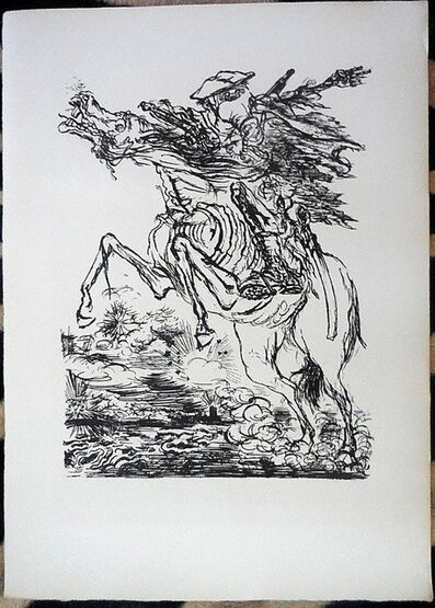 George Grosz, '1936 Lithograph Soldier on Horse with Gas Mask small edition', 1936