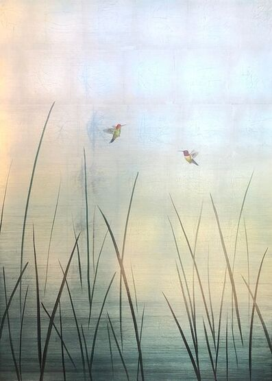 Carolyn Reynolds, 'Two Hummers in Reeds Over Blue', 2020