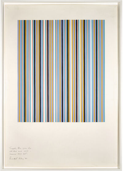 Bridget Riley, 'Turquoise, Blue, Yellow and Red with Black and White - Increased Black Beat', 1981