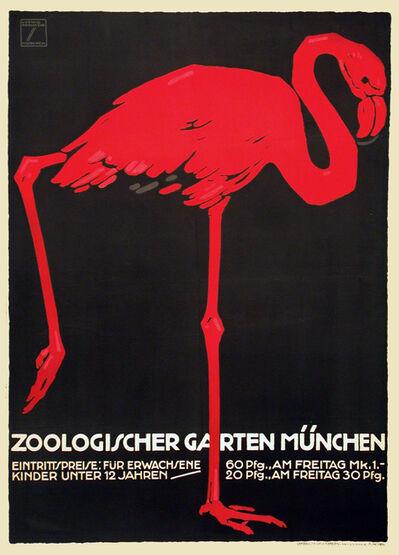 Ludwig Hohlwein, 'Zoologischer Garten Munchen - Munich Zoo - Flamingo', 1912