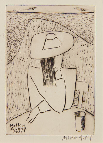 Milton Avery, 'March at a Table (March on Terrace), from Laurels Portfolio, No. 4', 1948