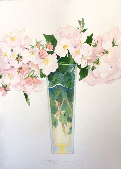 Gary Bukovnik, 'Wild Roses in A tall Vase', 2017