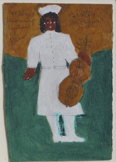 Sister Gertrude Morgan, 'Self-Portrait with Guitar  Inscribed In that/Morning/When/I/Rise', ca. 1971