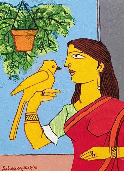 "Ashoke Mullick, 'Woman with a Bird, Acrylic on Canvas by Contemporary Artist ""In Stock""', 2018"