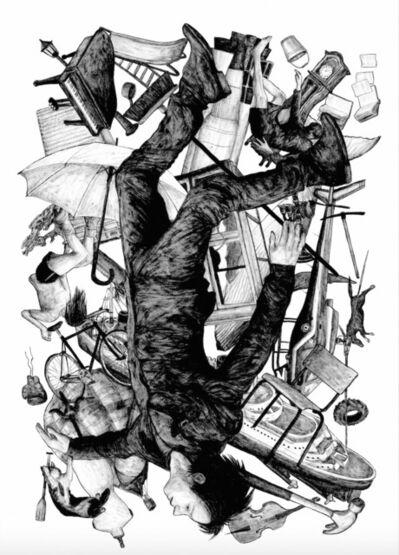 Levalet, 'La chute - white edition', 2015
