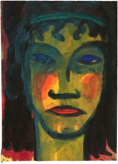 Emil Nolde, 'Großer Frauenkopf mit Stirnband (en face)', ca. 1930